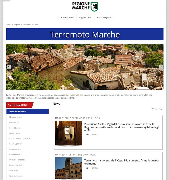 Home Page del sito della Protezione Civileoper il terremoto